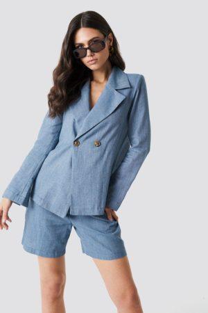 Linen-blend Blazer Blue